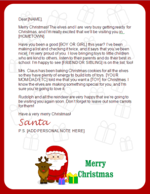 Free printable letters from santa for Letter from santa free printable
