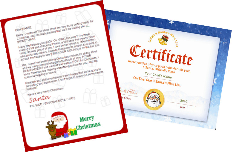 Printable santa letters santa claus and reindeer design printable santa letter and nice list certificate yelopaper Images