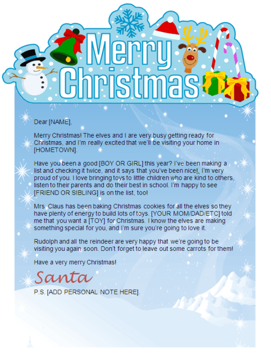 printable Santa letter - merry Christmas banner design