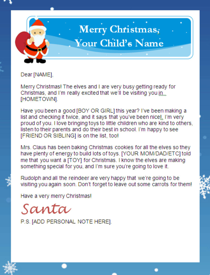 printable santa letter templates personalized banner - Father Christmas Letters