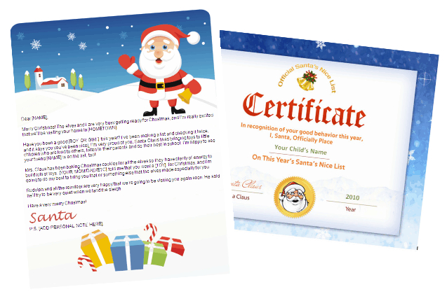 santa letters to print at home with nice list certificate - gifts design