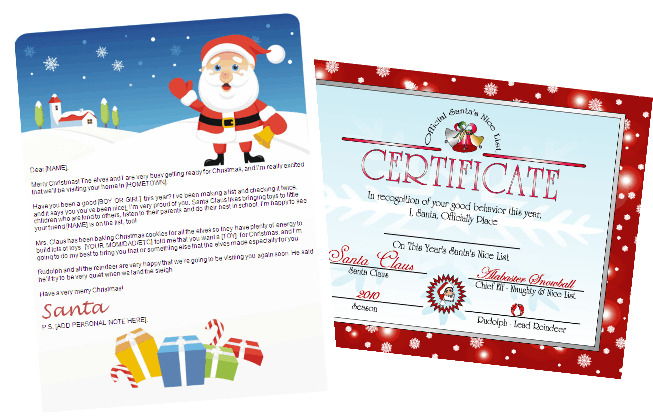 printable santa letters and nice list certificate -red certificate