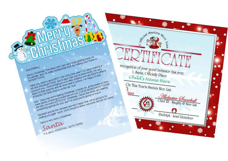 santa letter nice list combo - merry christmas banner with red