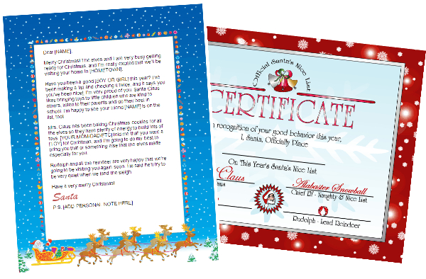 printable santa letter and nice list certificate -red combo