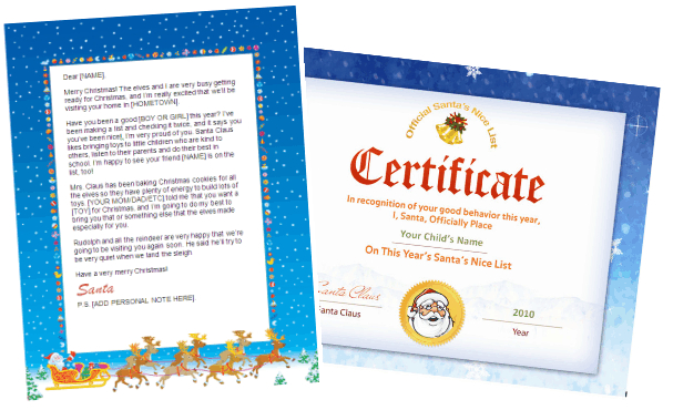 santa letters to print with nice list - santa seal combo