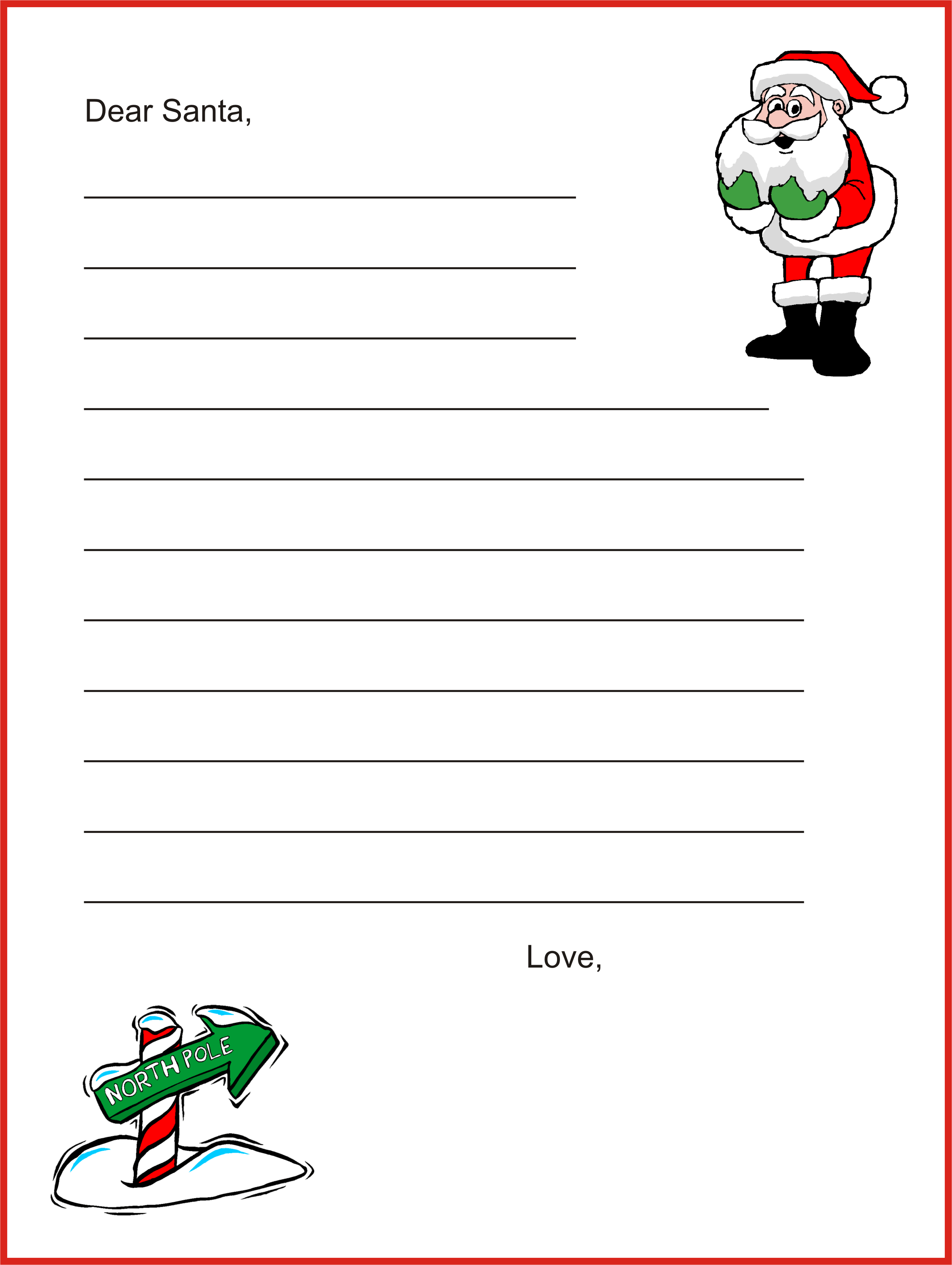 Dear santa letter template christmas letter for Dear santa template kindergarten letter