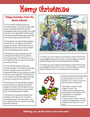christmas newsleter template - candy cane