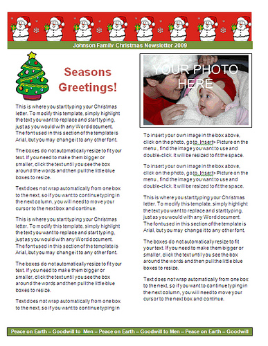 Christmas Newsletter   Red Snowman Border  Microsoft Word Christmas Letter Template