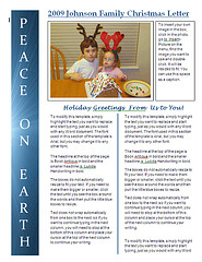 christmas newsletter template - peace on earth