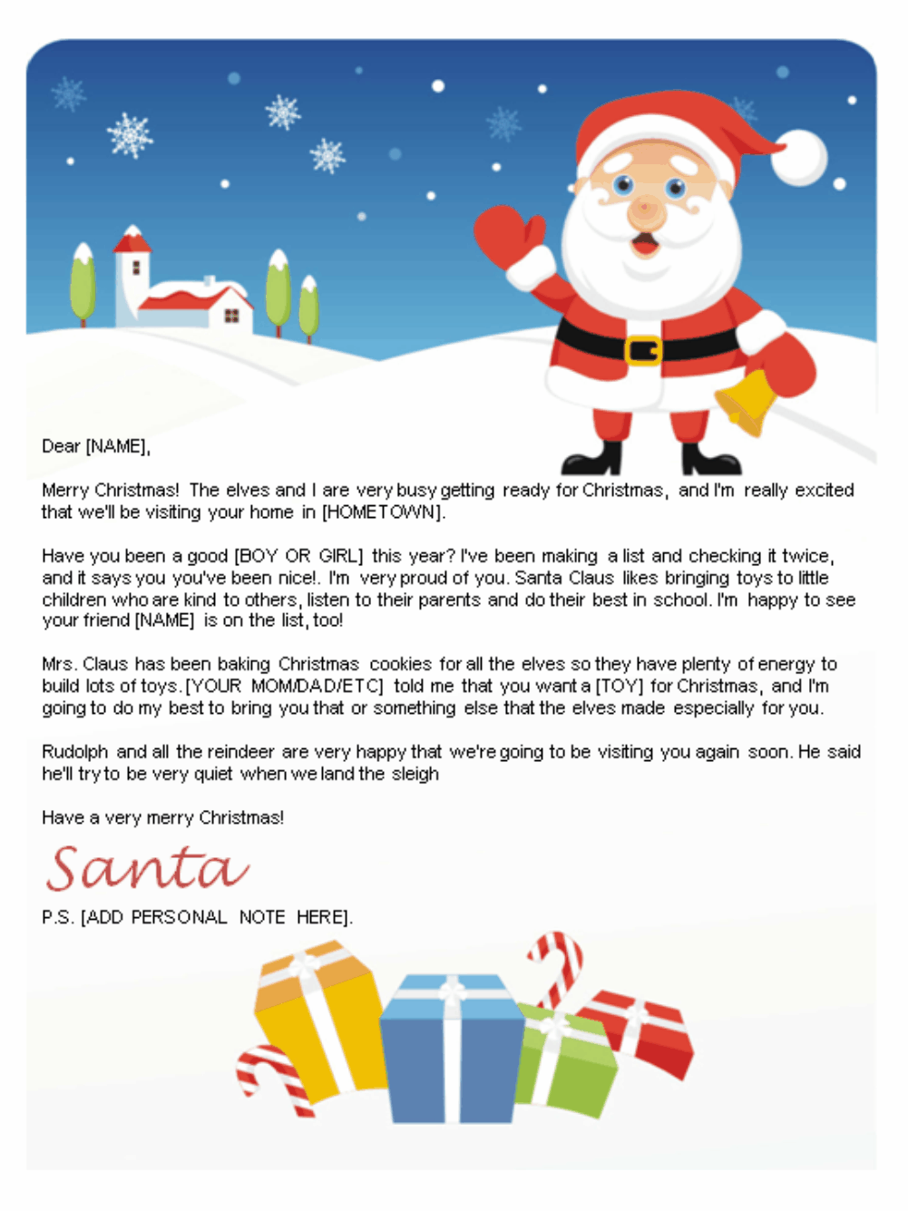 Letter From Santa Template Printable