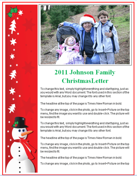 Christmas Newsletter Template - Red Snowman Banner |