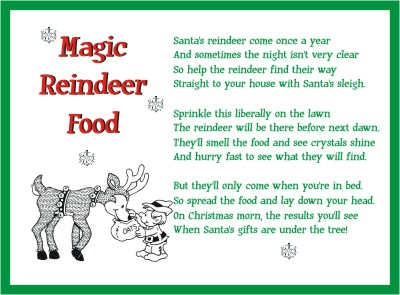 Reindeer Food Poem http://www.squidoo.com/printable-magic-reindeer-food-poems